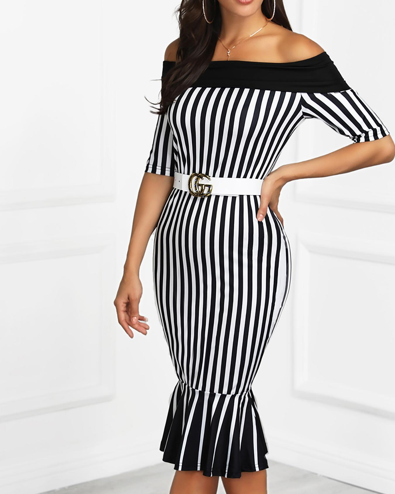 Off Shoulder Striped Fishtail Hem Dress