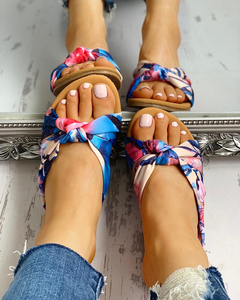 Satin Twisted Design Flat Sandals