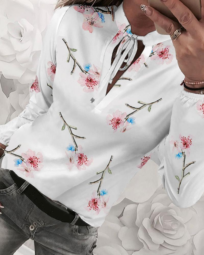 Floral Print Tied Detail Casual Blouse, White