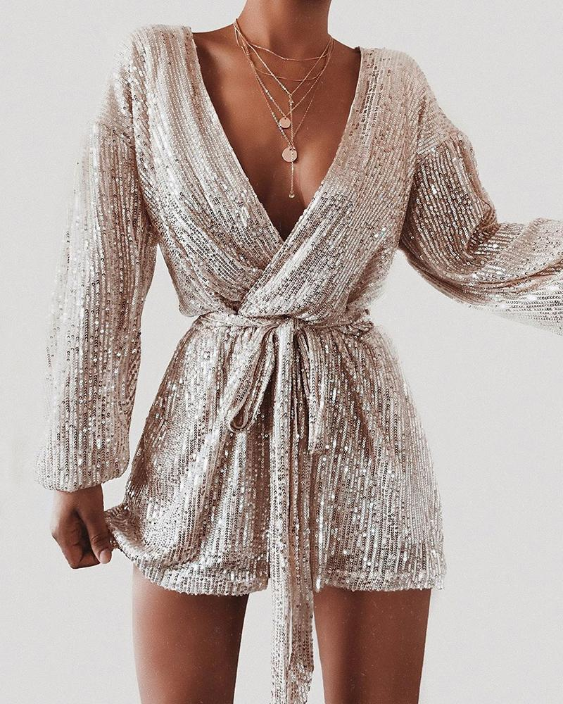Plunge Sequins Knotted Rompers фото