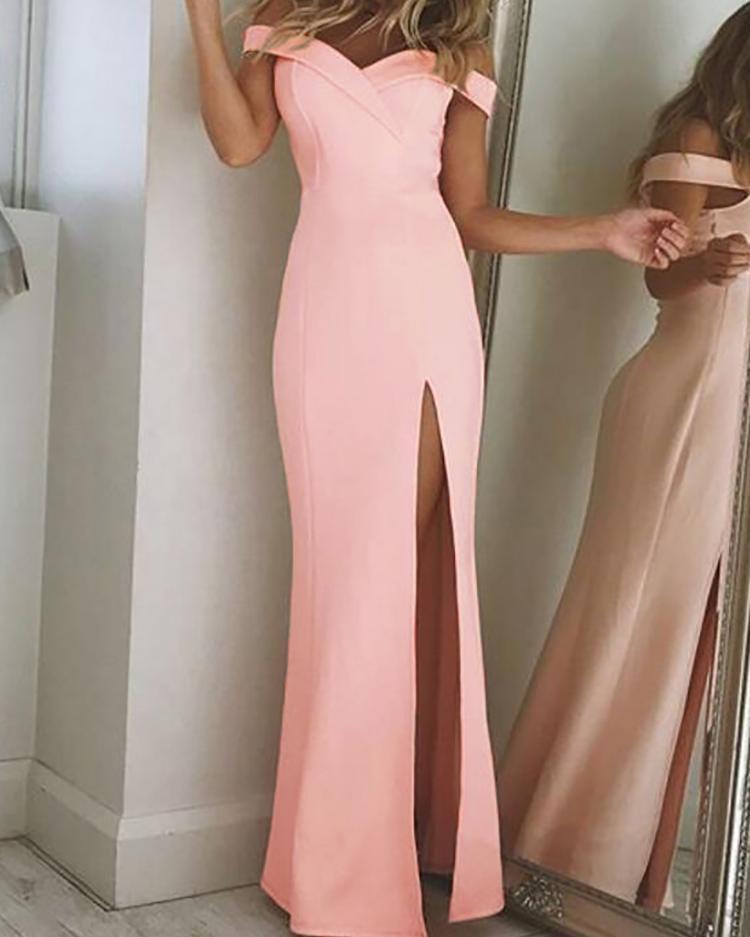 Off Shoulder Thigh Slit Evening Dress фото