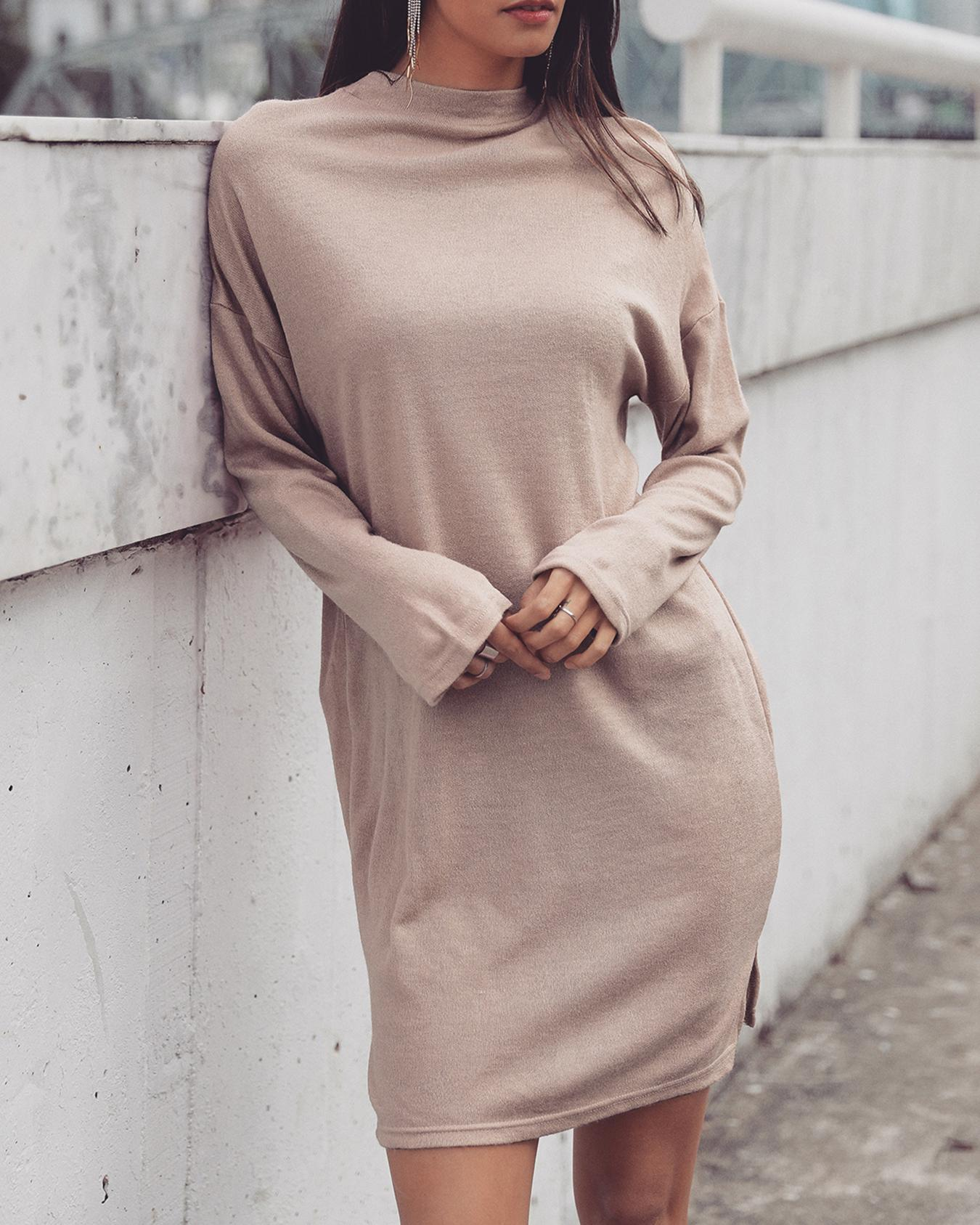 Solid High Neck Slit Casual Dress