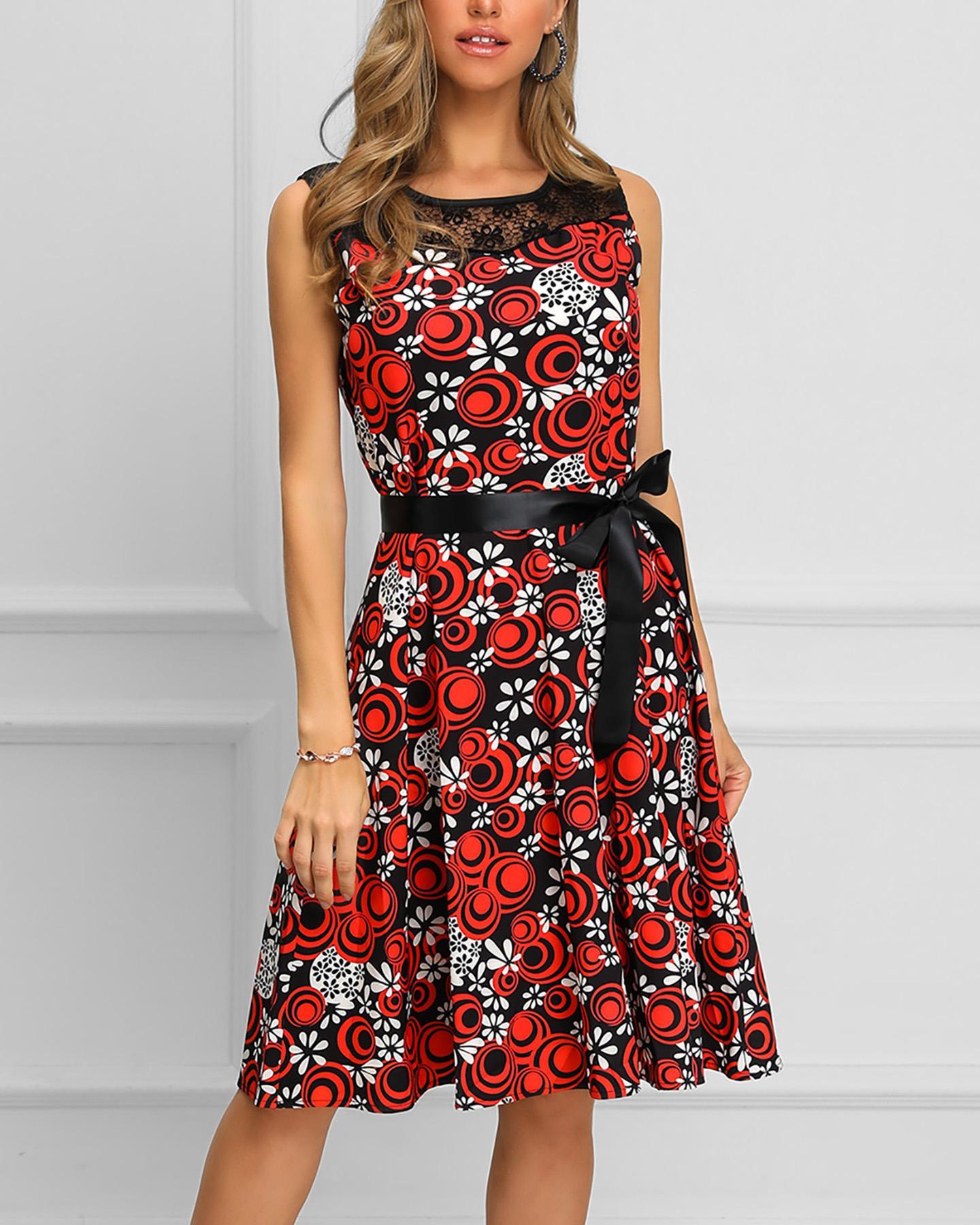 Print Sleeveless Lace Insert Pleated Dress фото