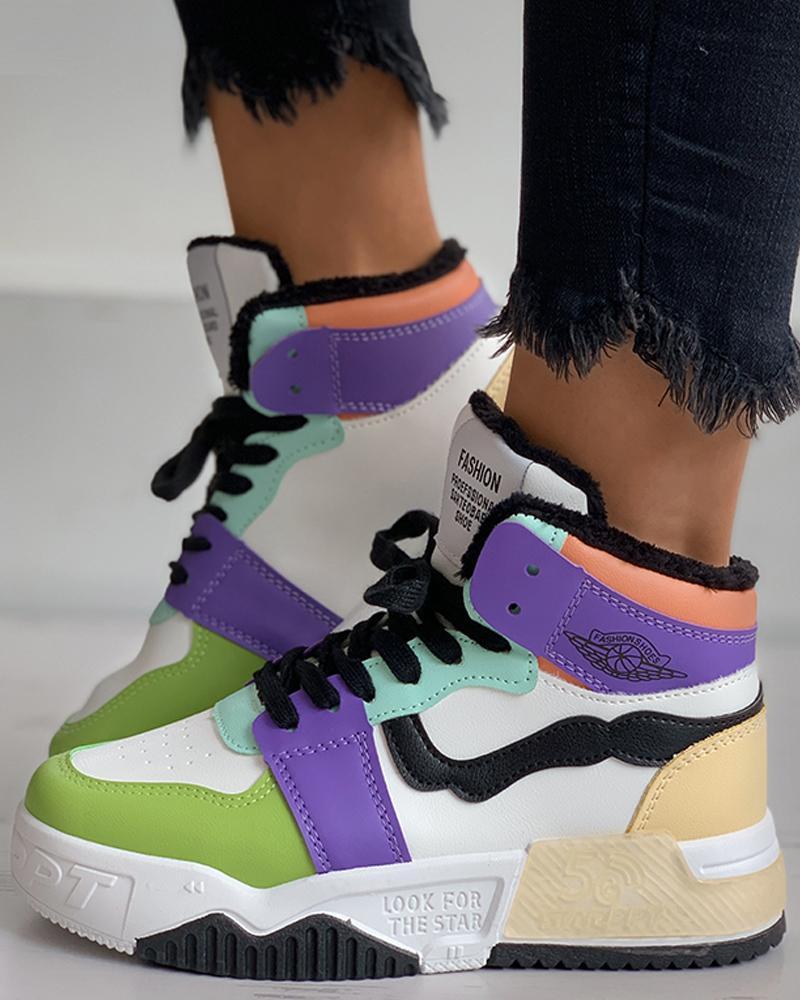 joyshoetique / Colorblock Lace-up Sneaker