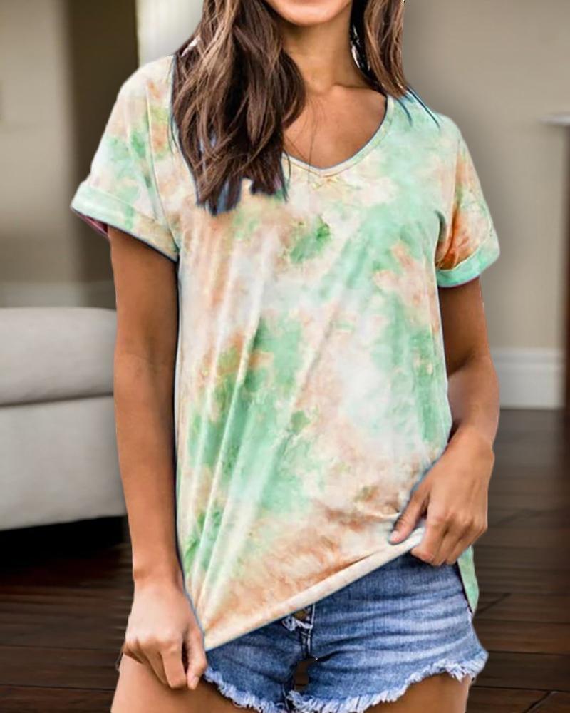 V-neck Tie Dye Print Casual T-shirt фото
