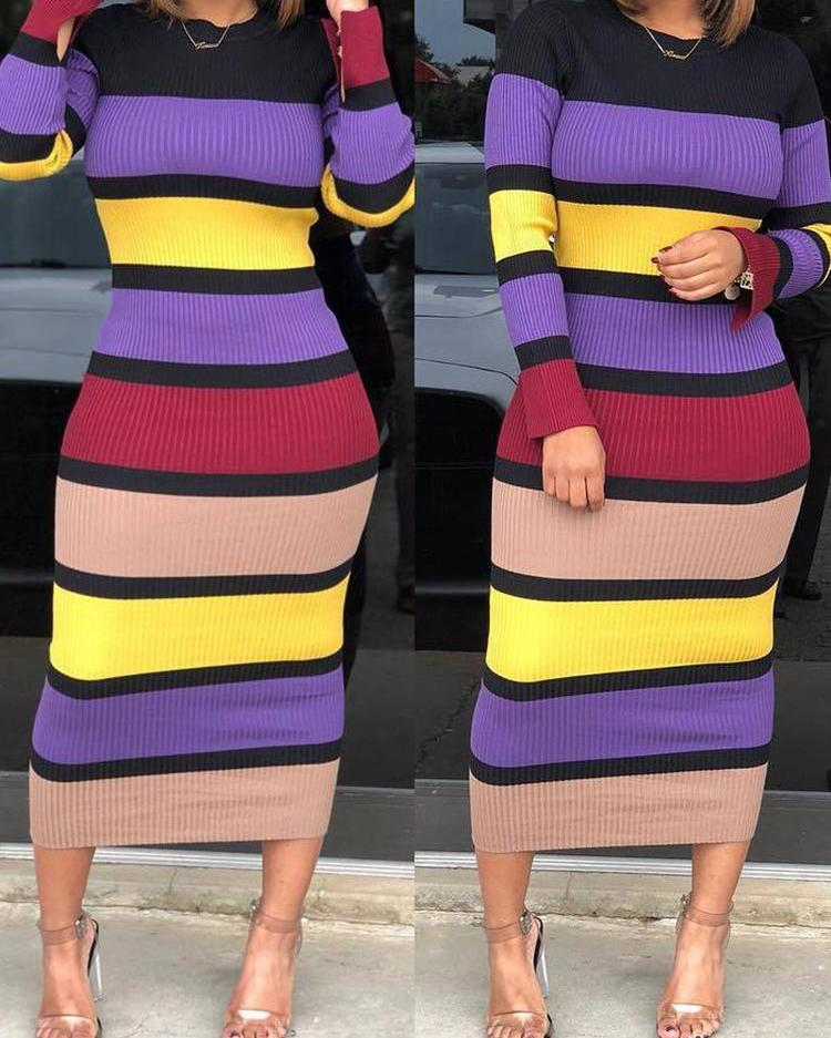 Colorful Striped Long Sleeve Ribbed Dress