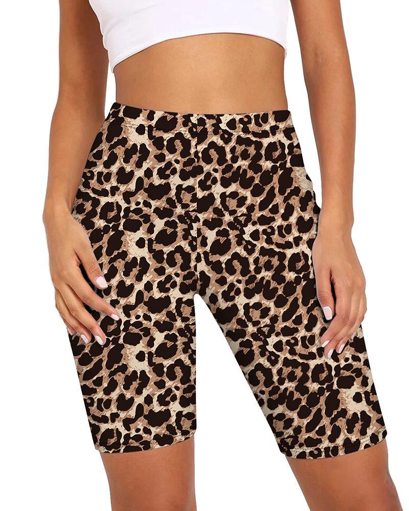 Cheetah Print High-Rise Biker Shorts, Leopard