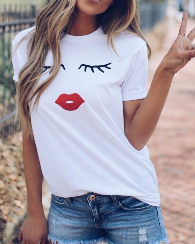 Eyelashes And Lip T Shirts фото