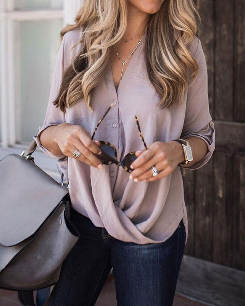 Chiffon Buttons Long-Sleeve Purple Blouse