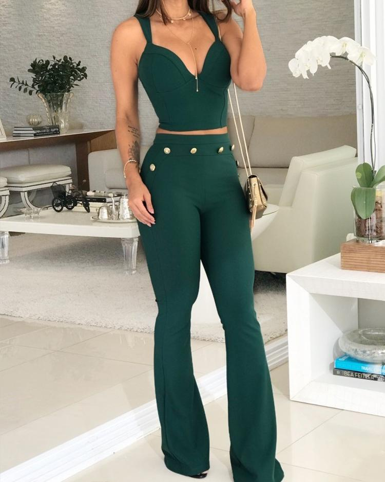 boutiquefeel / Thin Strap V-Neck Top & Bell-Bottom Pants Set