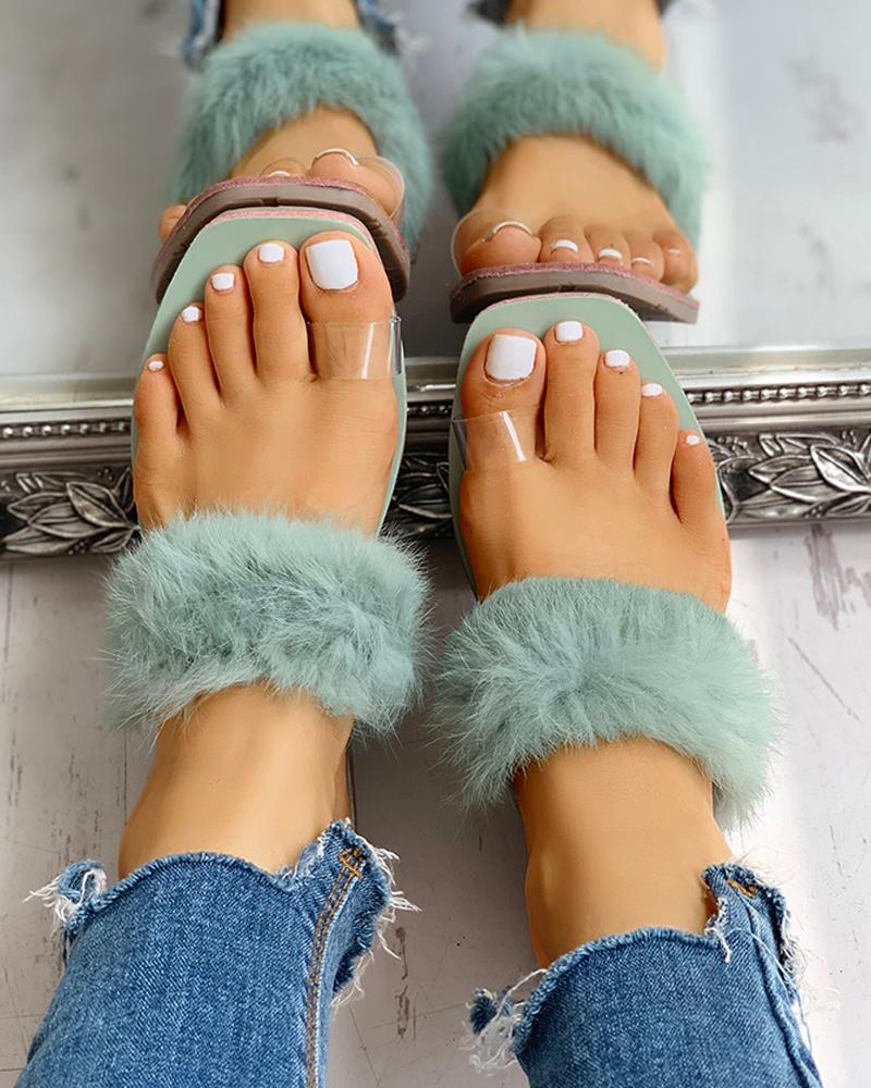 ivrose / Sandalias planas mullidas del anillo del dedo del pie