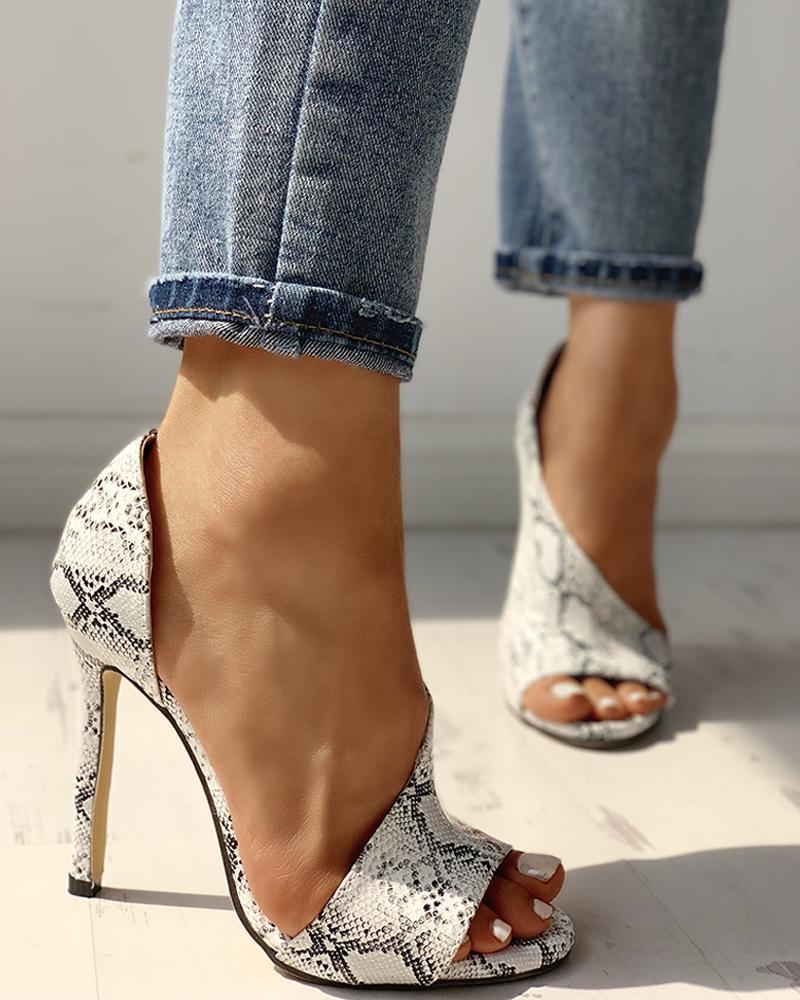 Snakeskin Peep Toe Cutout Thin Heels
