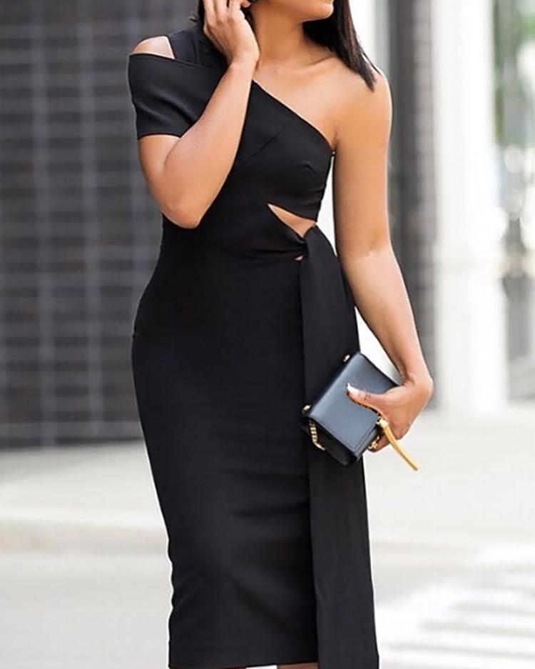 One Shoulder Cut Out Tie Waist Bodycon Dress