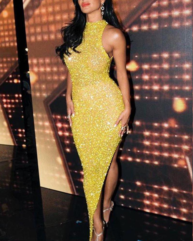 Sequined Sleeveless Bodycon Assymetric Dress фото