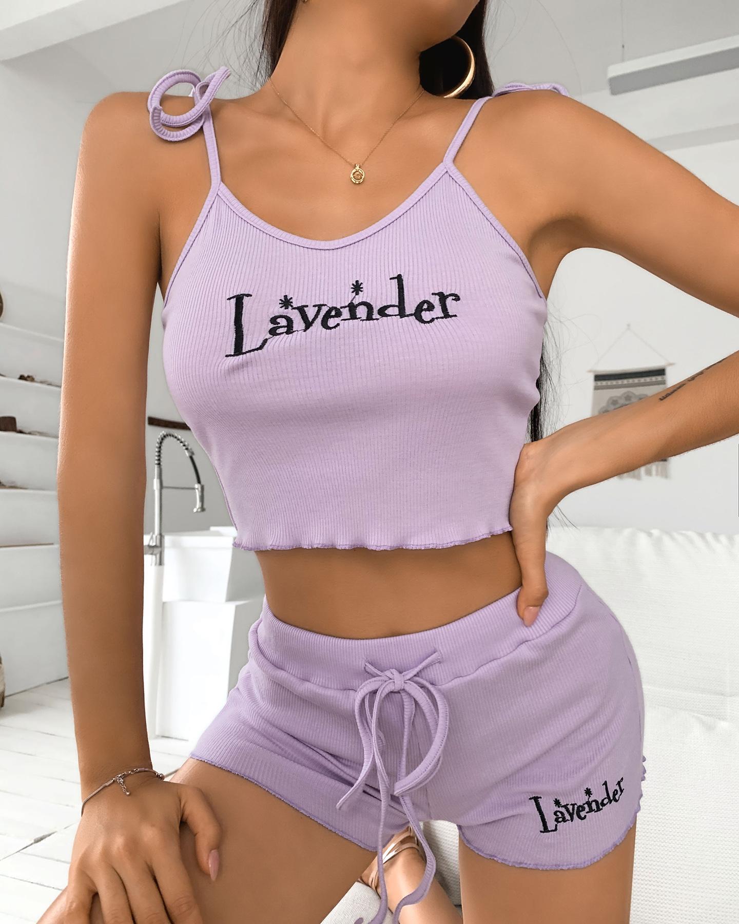 ivrose / Conjunto de top corto con estampado de letras y tirantes finos y pantalones cortos con cordón