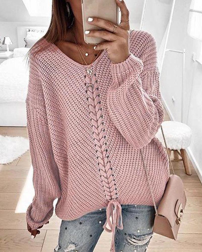 V Neck Rib Knit Sweater фото