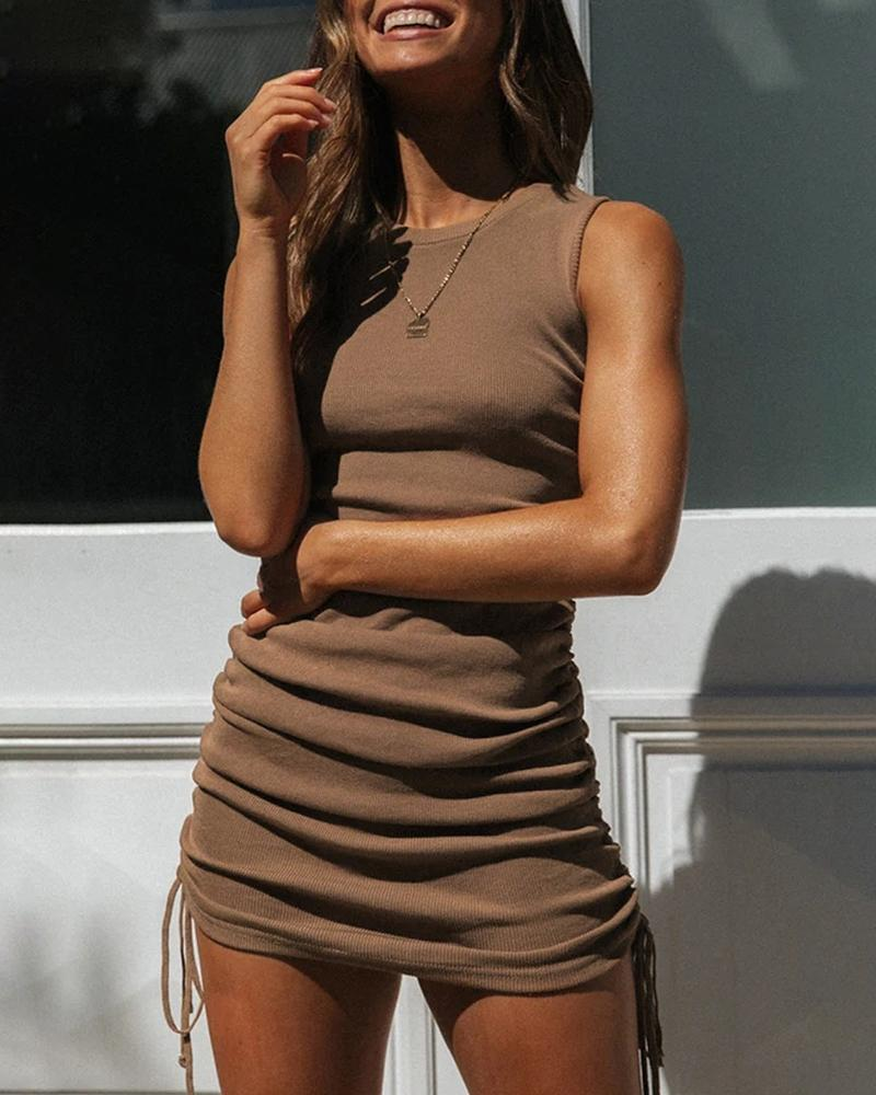 Solid Drawstring Ruched Bodycon Dress фото