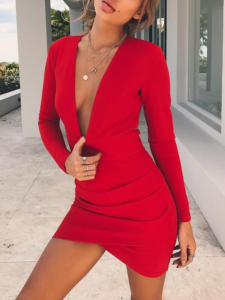 Глубокий V Открытой Спиной Крест-Накрест Хем Bodycon Платье - Красный