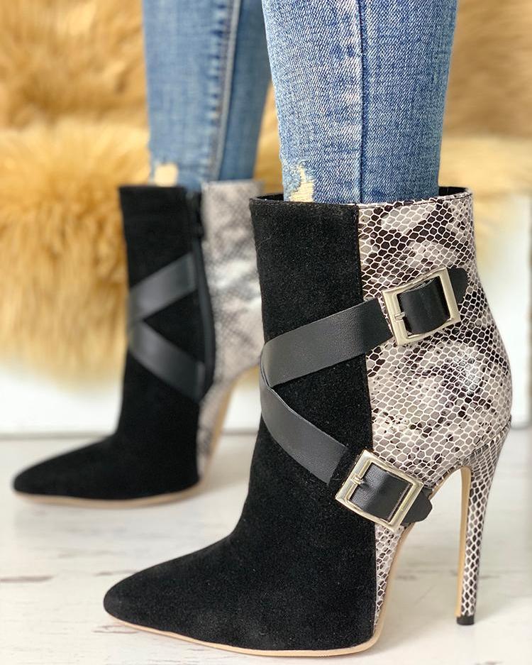 Snakeskin & Suede Crisscross Buckled Boots