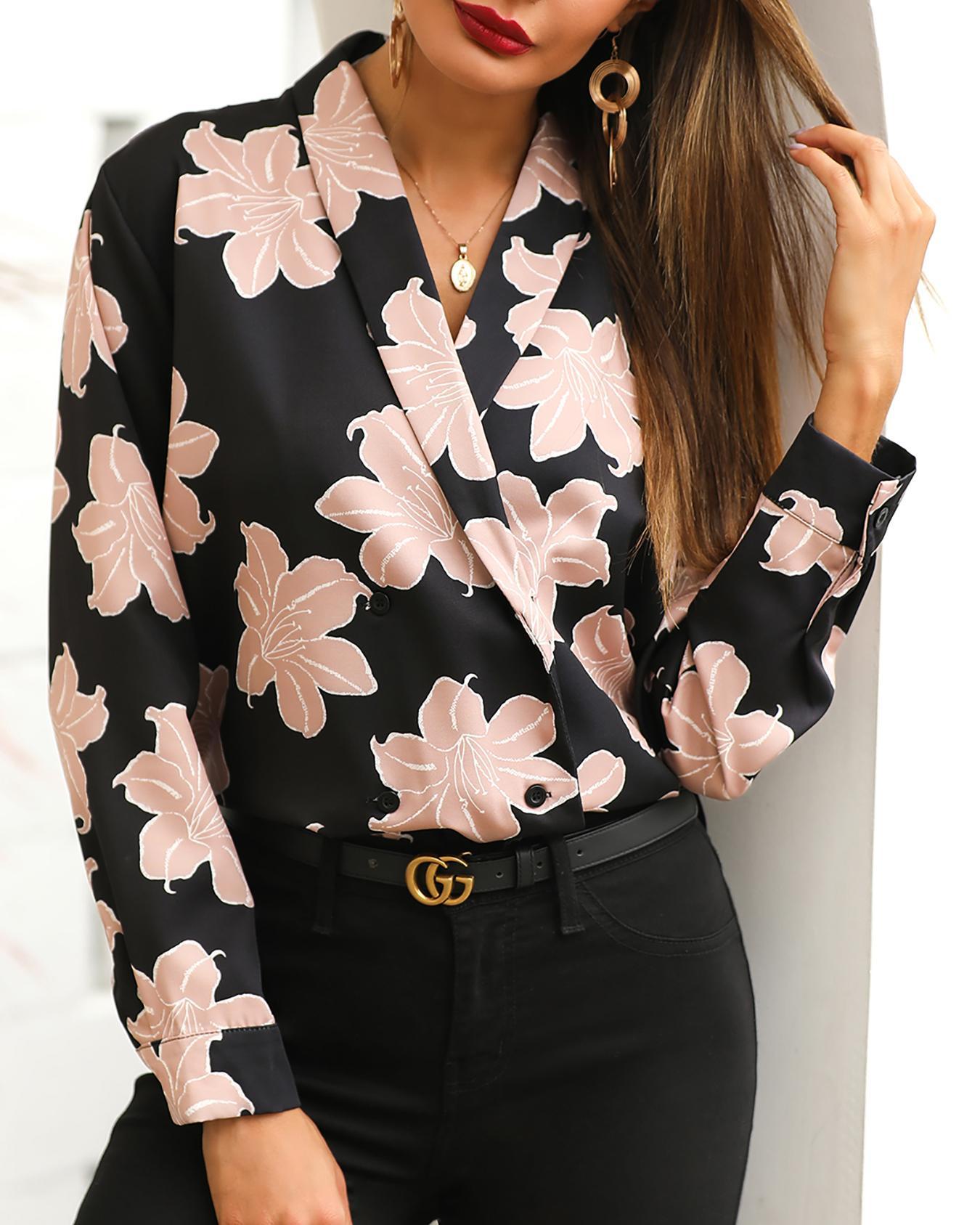 Floral Print Notched Neck Blazer Coat