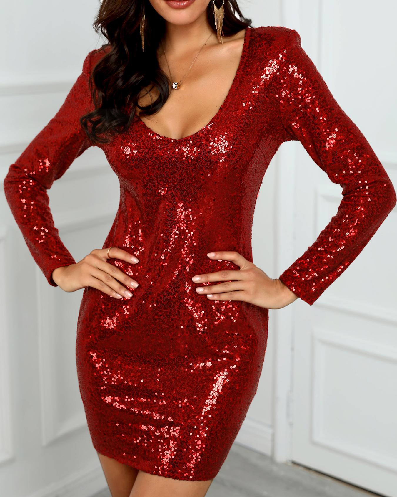 Long Sleeve Plunge Sequin Dress