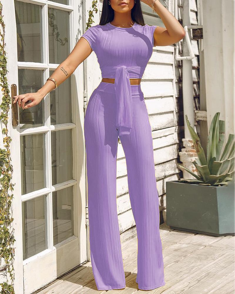 boutiquefeel / Knot Front Crop Top & Wide Leg Pants Set