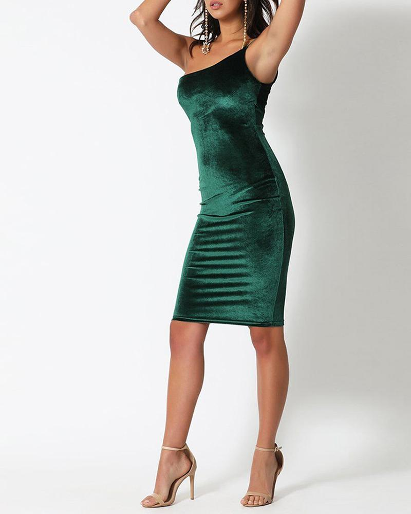 One Shoulder Tight Waist Bodycon Dress фото