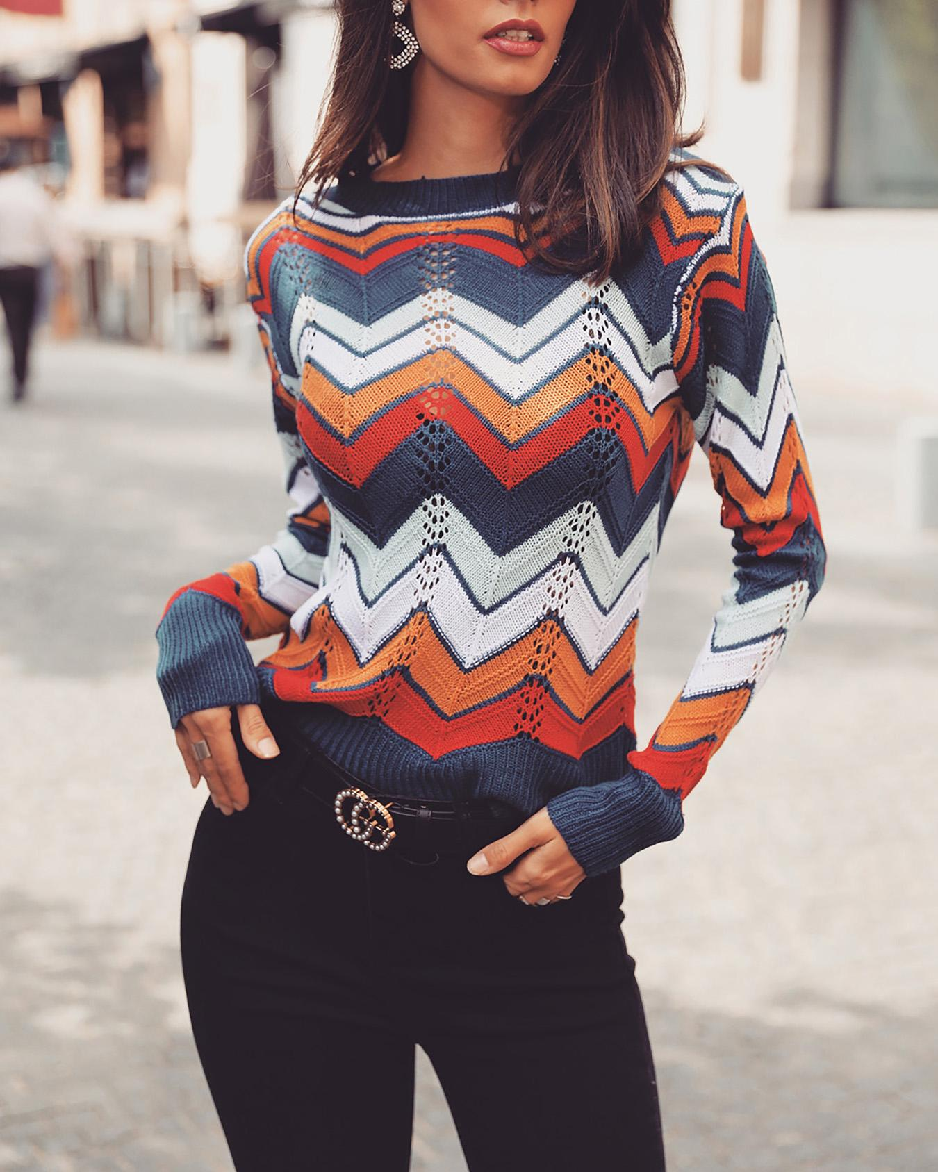 Colorful Chevron Stripes Long Sleeve Casual Sweater фото