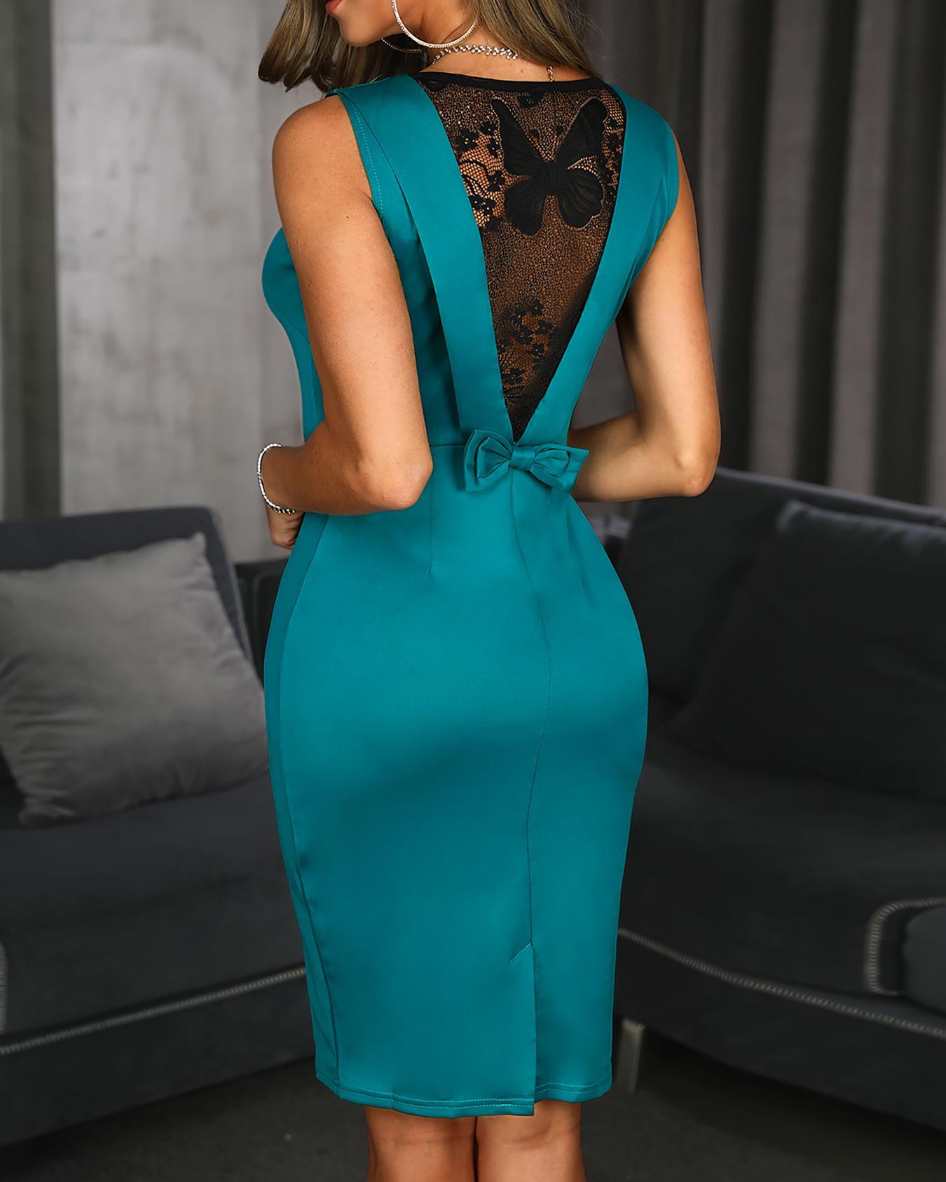 Lace Insert Bowknot Back Bodycon Dress
