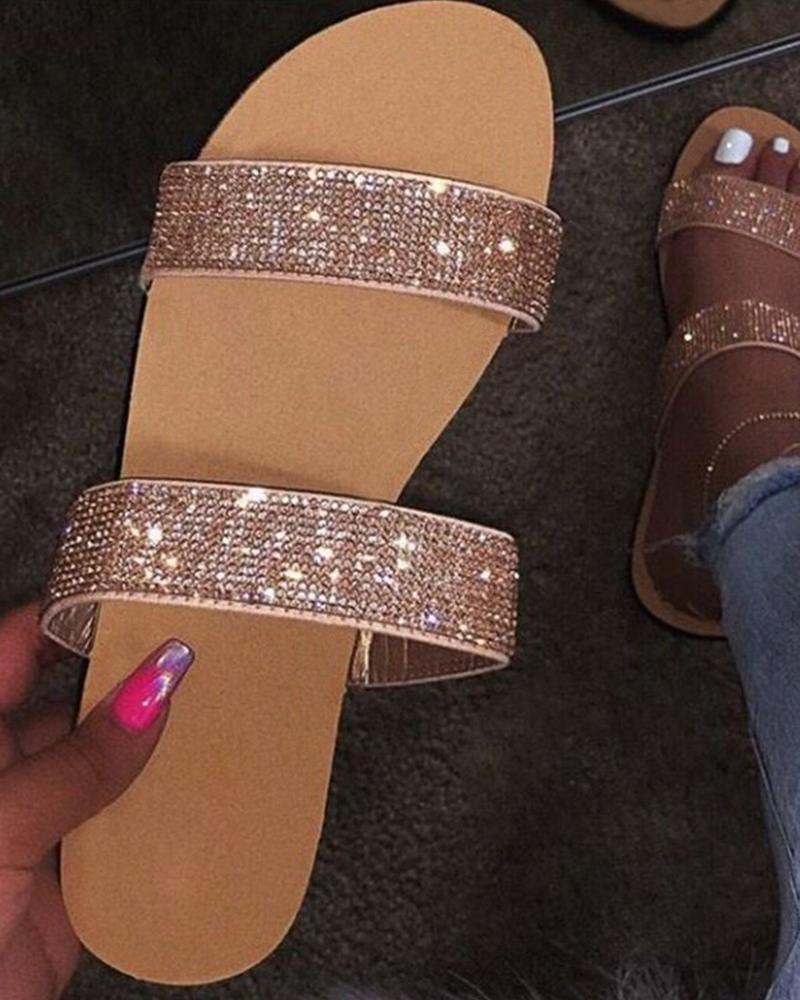 Crystal Glitter Shinny Double Bandages Flat Sandals фото