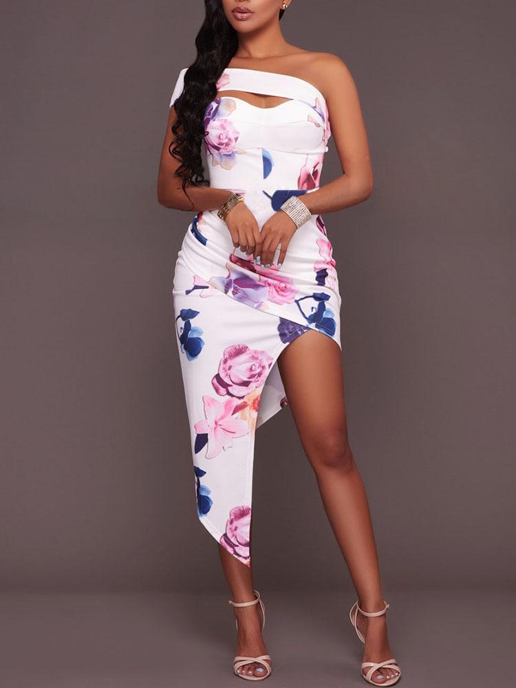 Boho Floral Print High-low Midi Bodycon Dress
