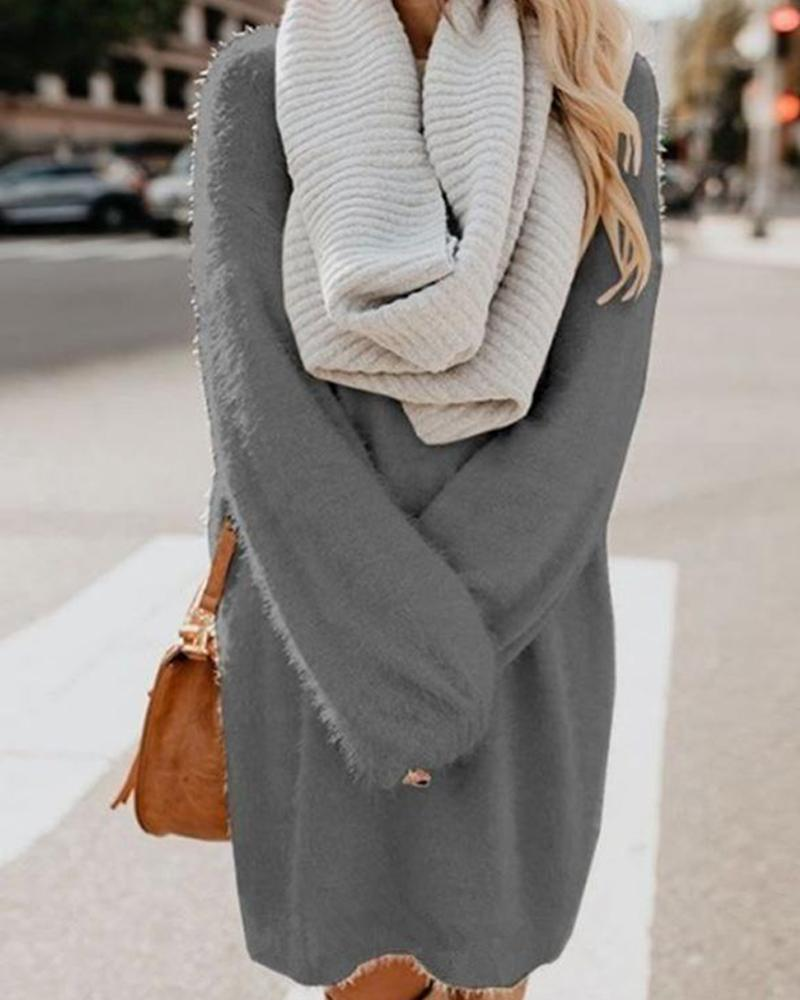 Solid Color Medium Length Loose Knitting Sweater фото