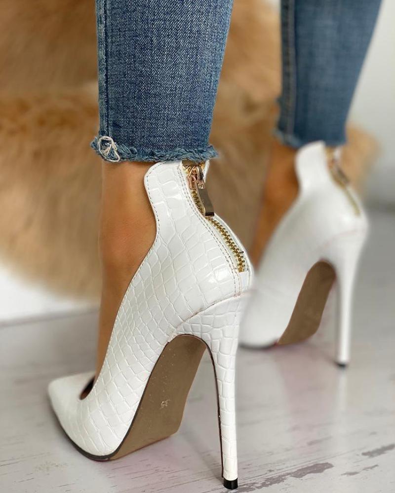 Pointed Toe Zip Detail PU Heels фото