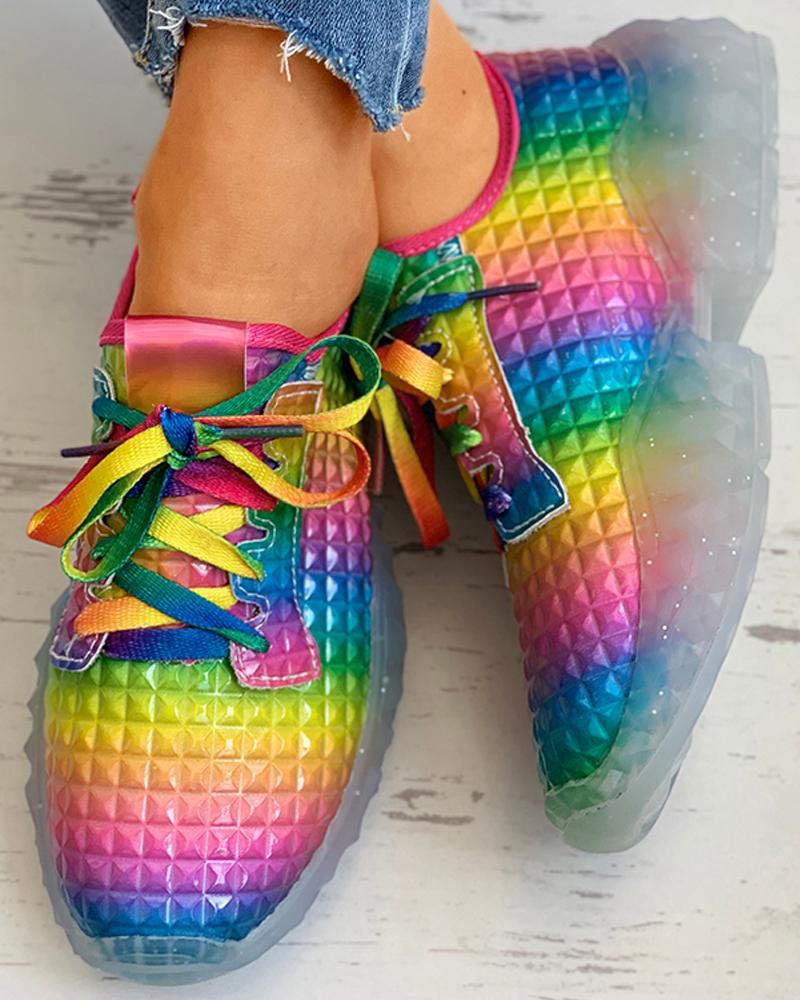 chicme / Zapatillas casual con cordones en bloques de color