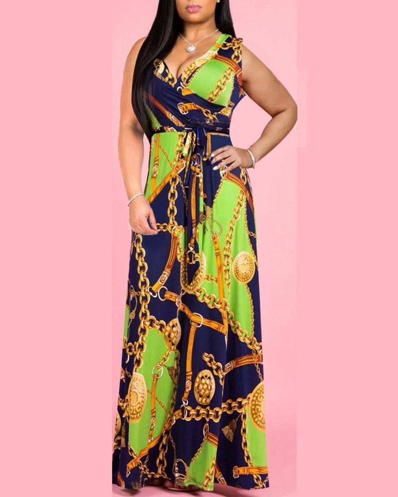 V Neck Chain Printed Belted Maxi Dress