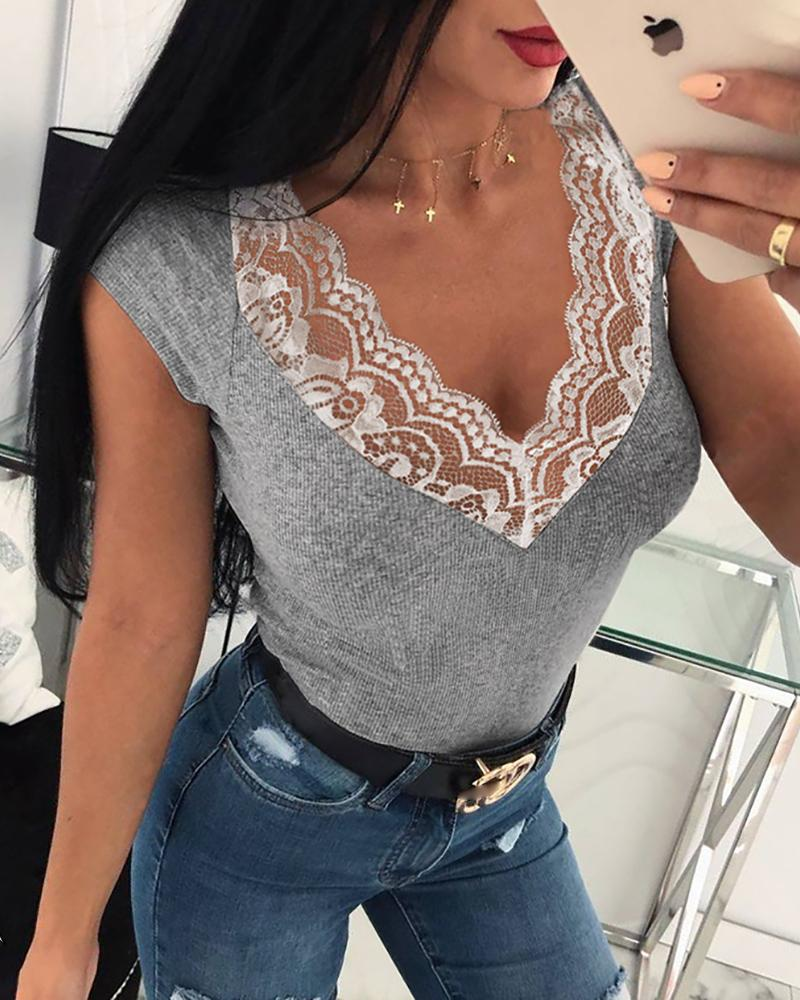 V-Neck Lace Patchwork Neck Tops фото
