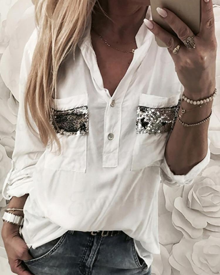 Contrast Sequins Dual Pocket Casual Blouses фото