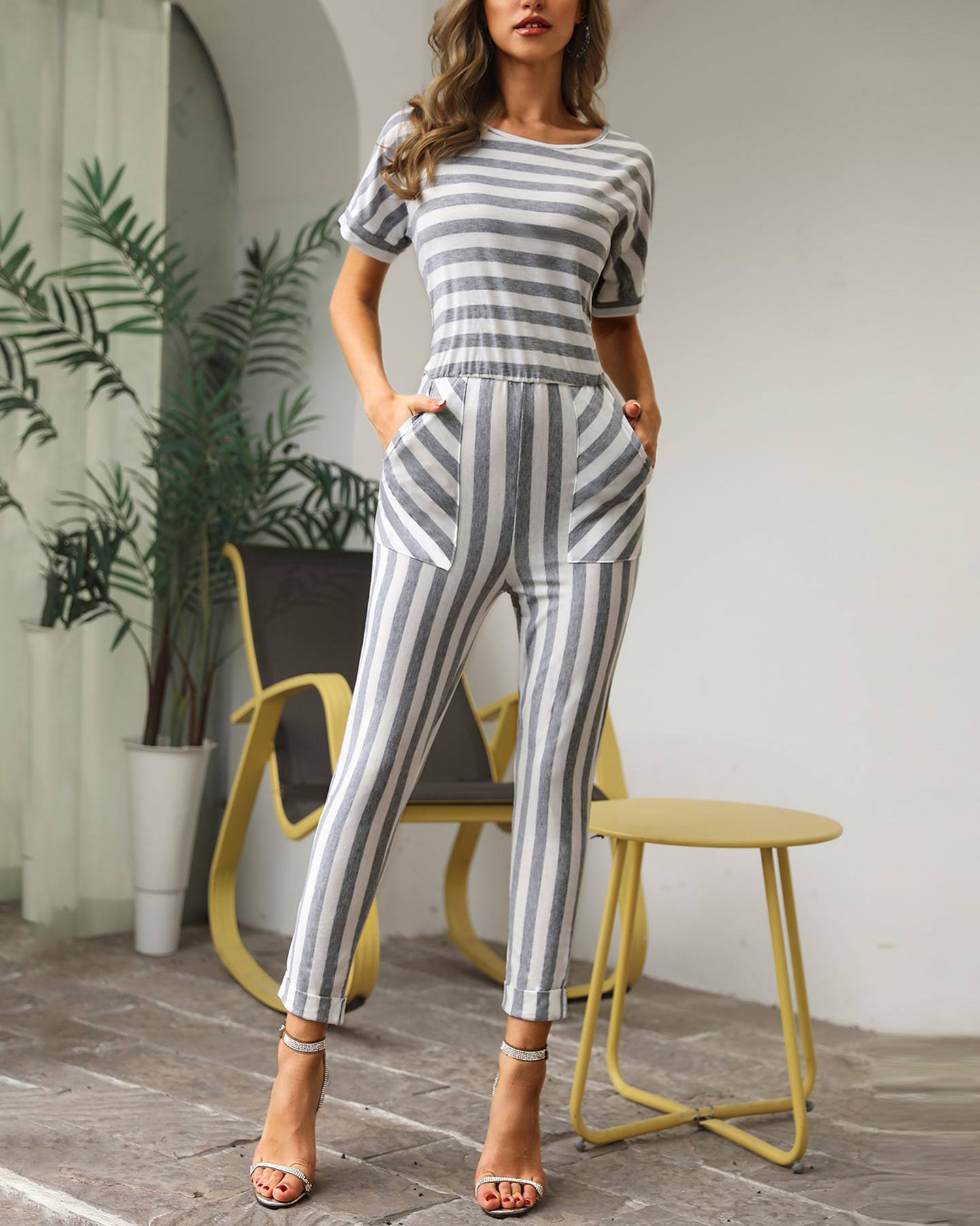 Casual Striped Patchwork Loose Jumpsuit фото