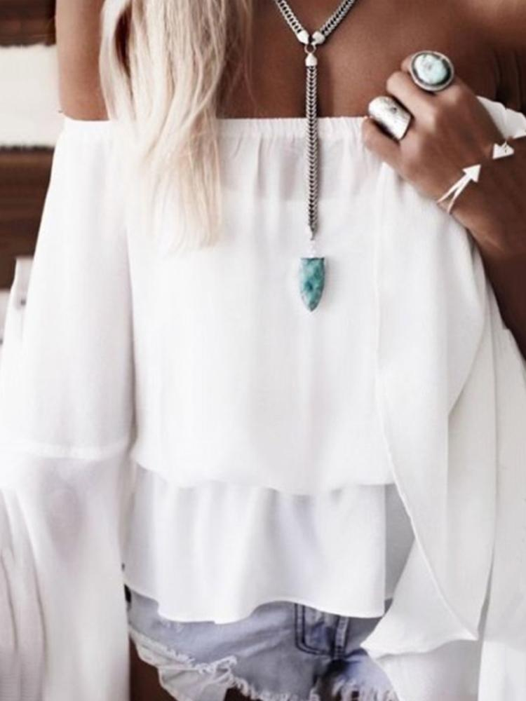 Boho Flare Sleeve Off Shoulder Pleated Casual Blouse
