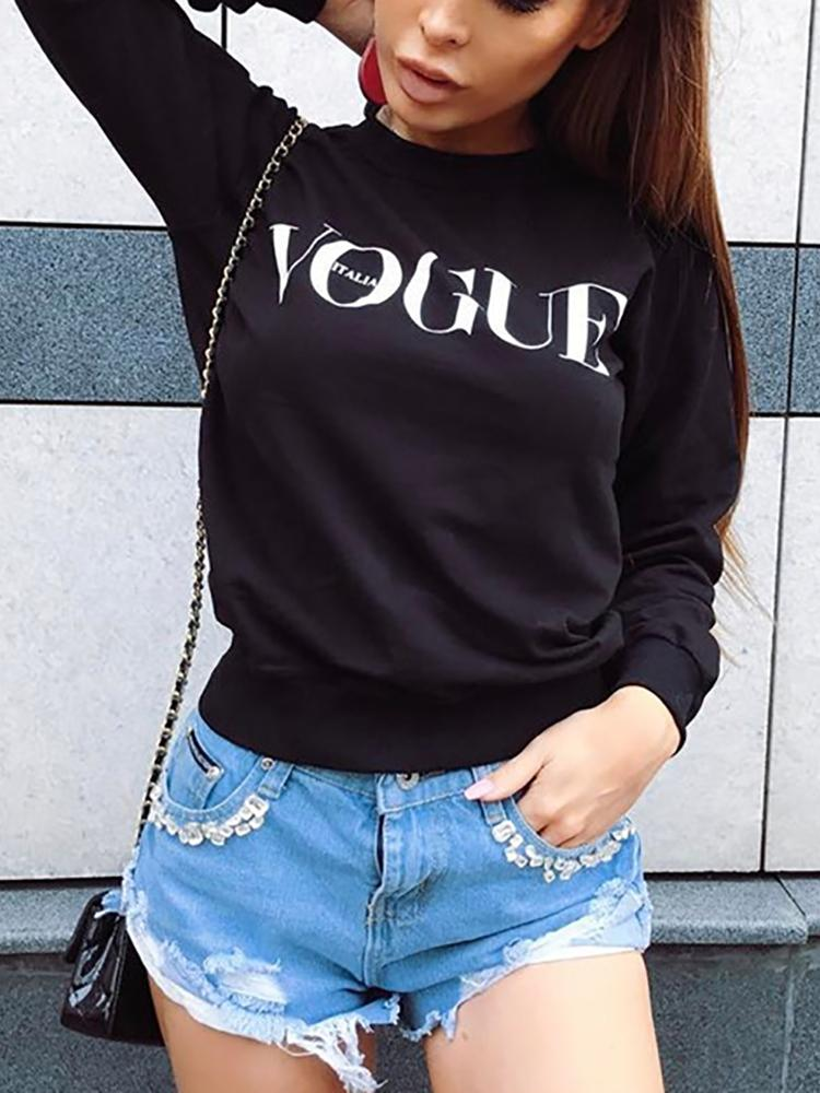 Casual Letter Print Women's Sweater
