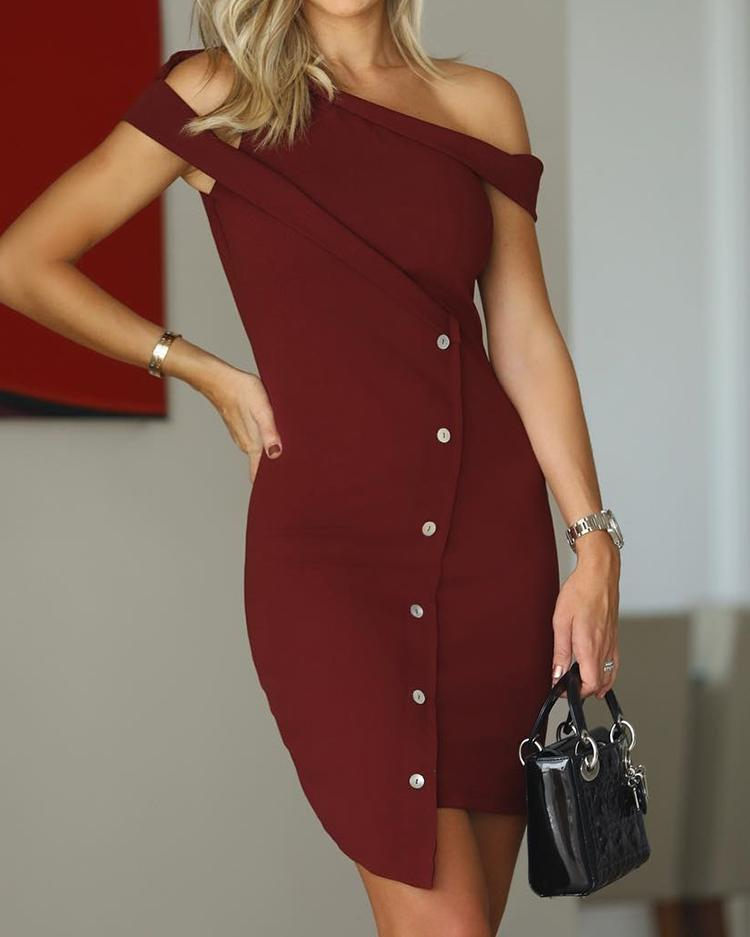 Solid Skew Neck Button Design Irregular Dress