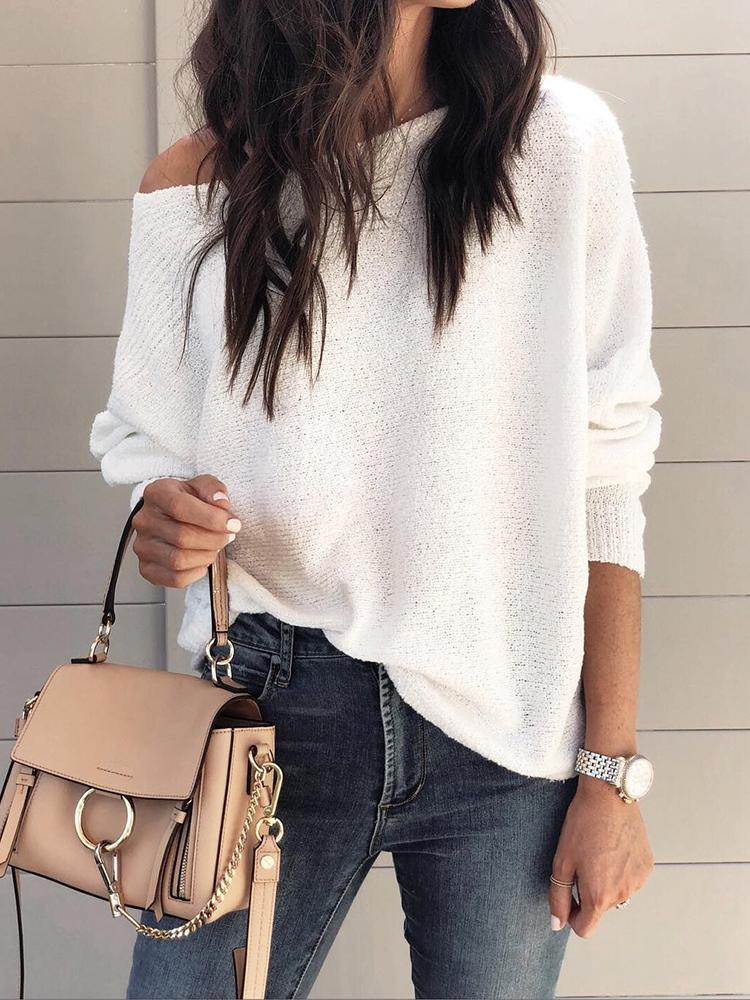 Solid Long Sleeve Boat Neck Casual Top