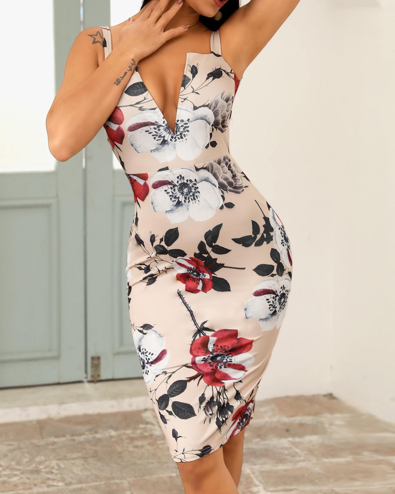 ivrose / Vestido sin espalda con estampado floral en V profundo