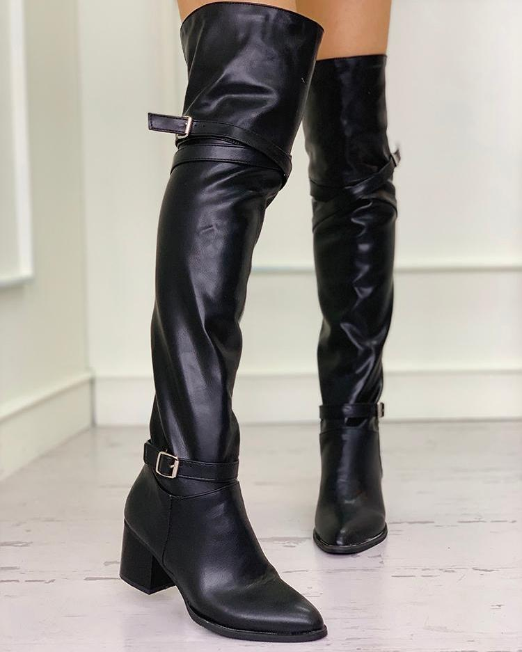 joyshoetique / Pointed Toe Over The Knee Chunky Heeled Boots