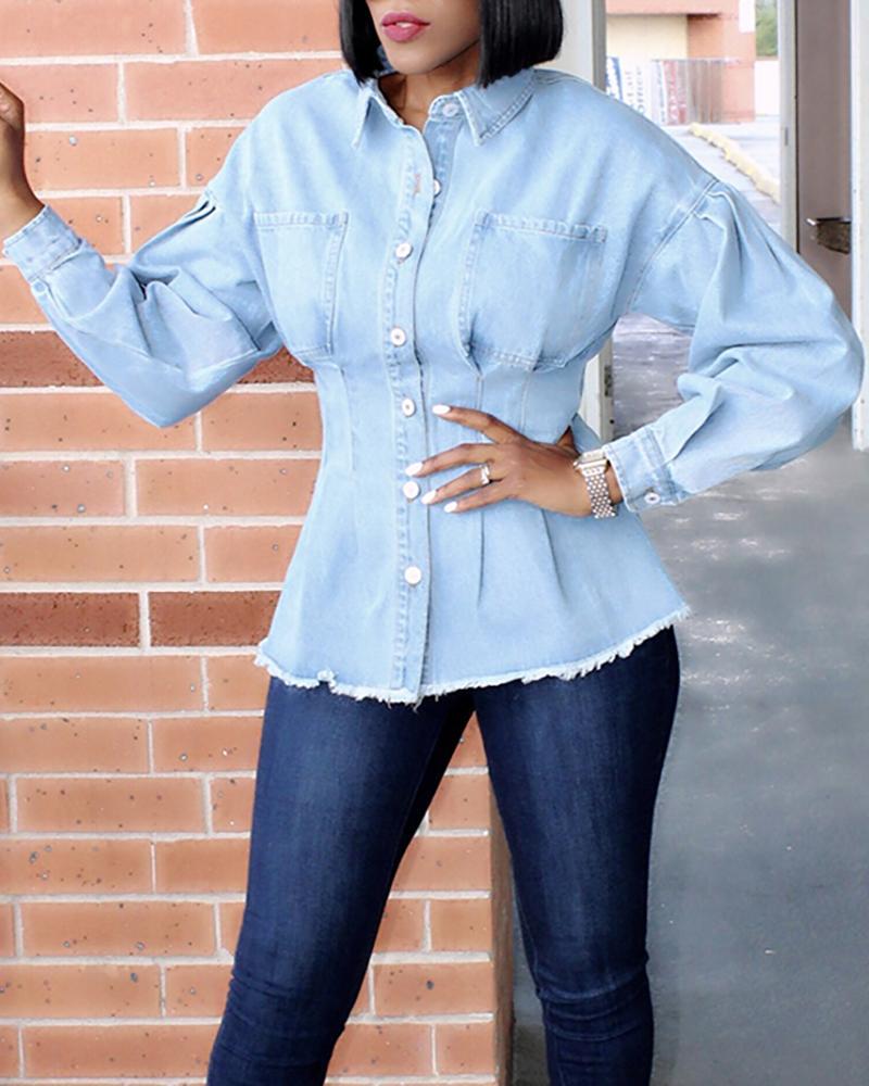 Solid Turn-down Collar Pocket Buttoned Denim Shirt