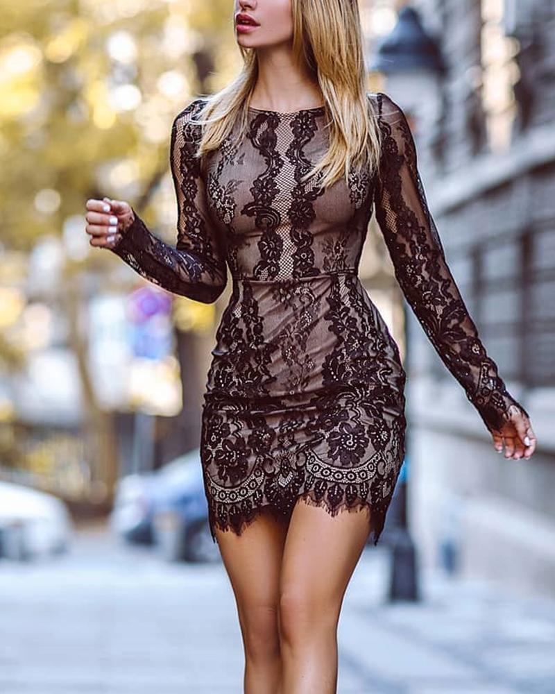Sexy Bodycon Lace Detail Dress фото