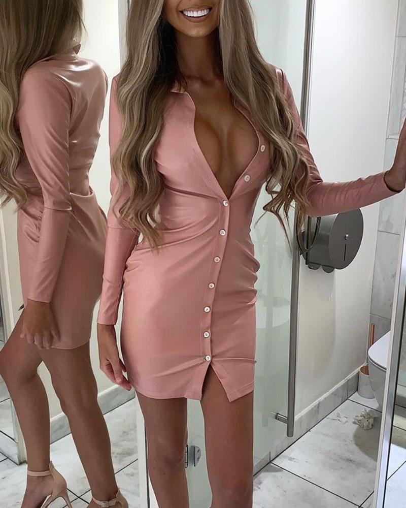 PU Bodycon Button Front Mini Dress, Pink