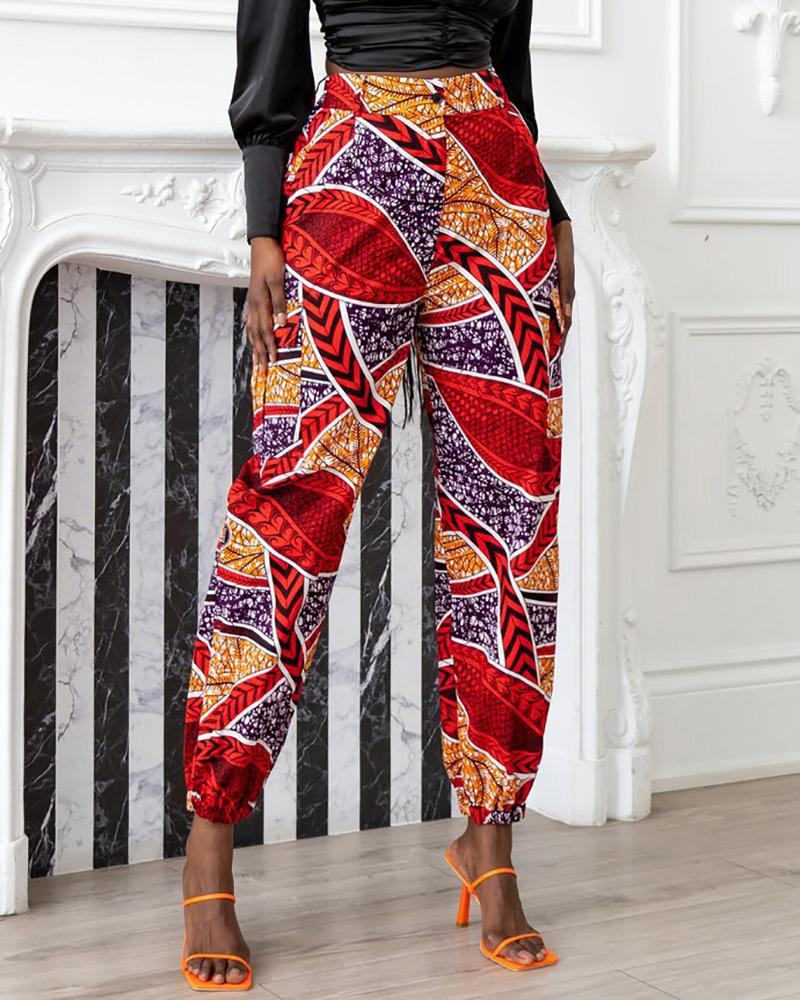 Image of Graphic Print Buttoned Pocket Design Cuffed Pants