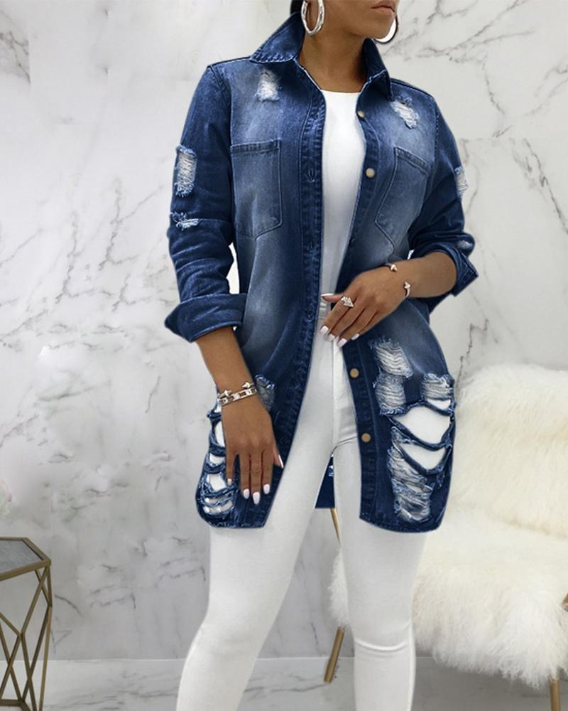 Image of Button Up Patch Pocket Curved Hem Ripped Denim Coat