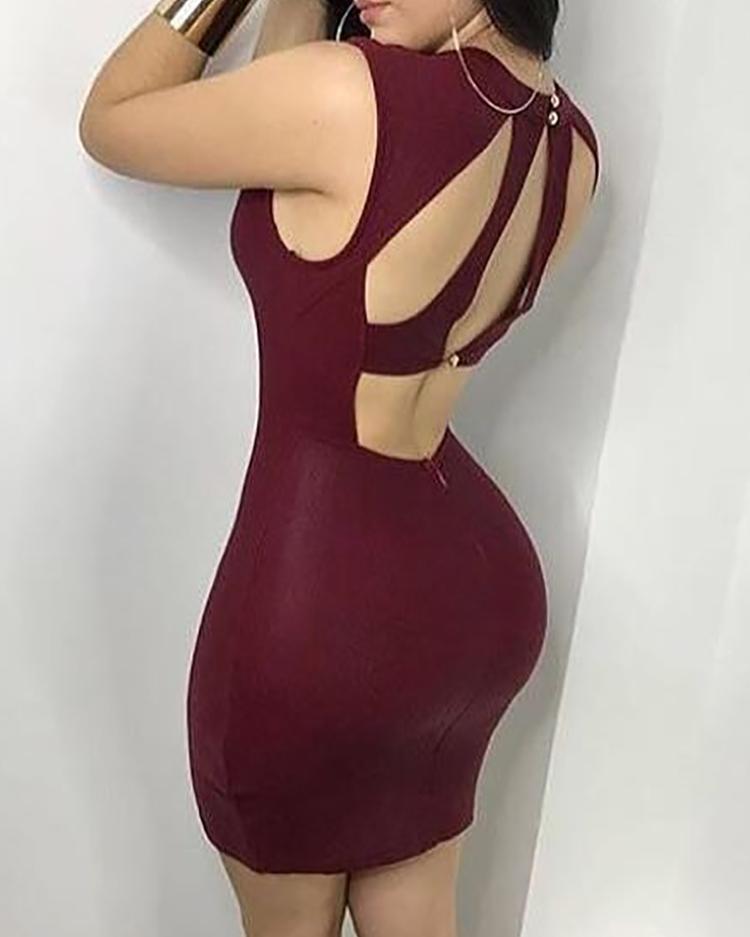 Сексуальный Вырезать Назад Коктейльное Мини-Платье Bodycon